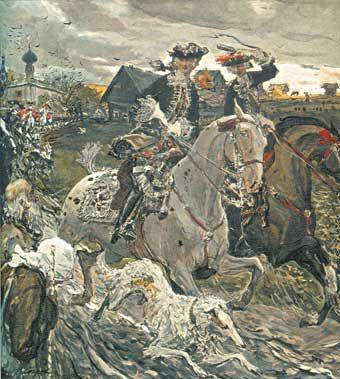 """В. Серов """"Выезд Петра II и цесаревны Елизаветы на охоту"""""""