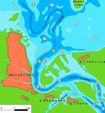 Схема глубин реки Молога врайоне города Весьегонска.