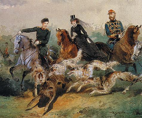 М. Зичи (1827–1906). Семья АлександраII напсовой охоте. 1866 год.