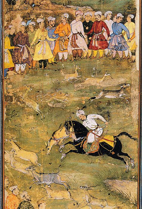 Персидская миниатюра с изображением охотничьей сцены. XVI-XVII вв. Из собрания ГМВ.