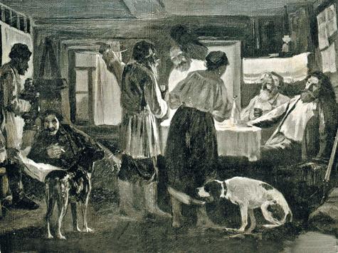 «После охоты». Журнал «Природа иохота», 1882 год.  Иллюстрация из собрания Петра Зверева.