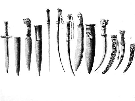 ВООРУЖЕНИЕ ВОИНА. Вооружение русского воина было весьма разнообразным: в него входили как универсальные, так и специализированные ножи. На картинке слева направо представлены боевые ножи: кинжал, нож поясной, подсайдашный, засапожный. Позднее некоторые из них стали прототипами охотничьих ножей.