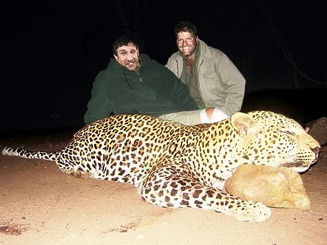 Тим Эллемент (справа) у кота, охота на которого длилась четырнадцать дней. На такой трофей и две недели потратить не жалко,